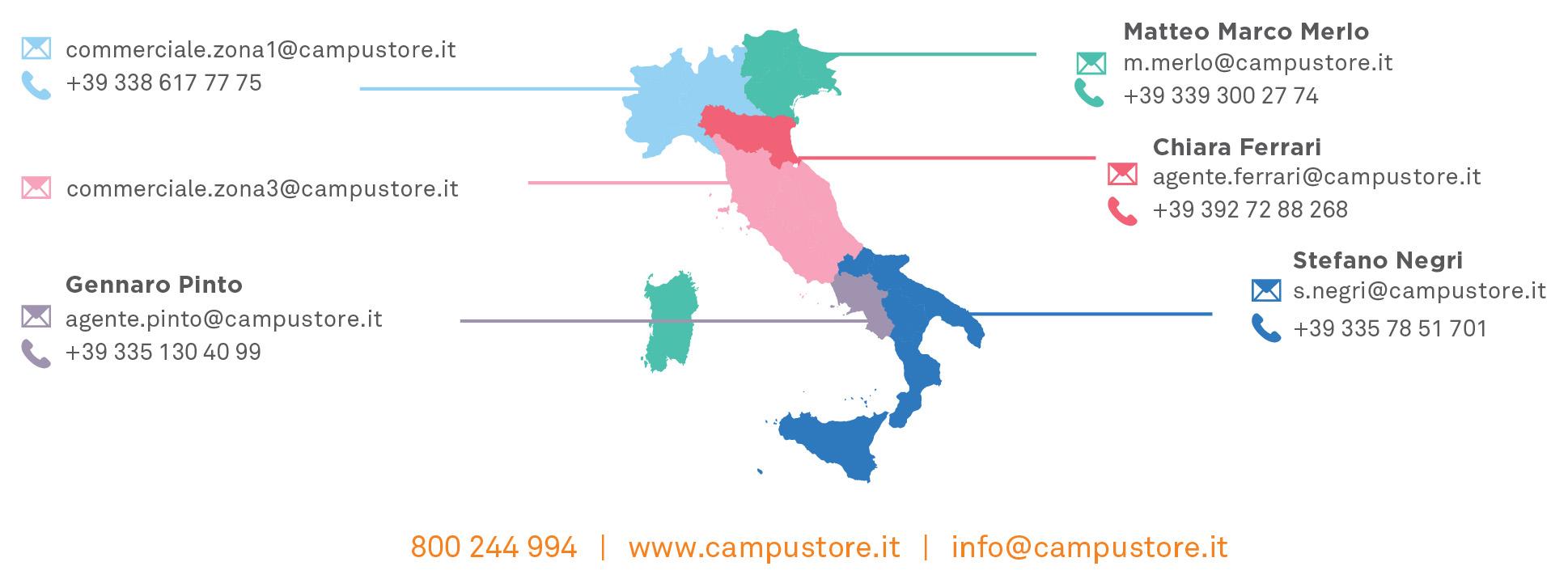 mappa commerciale Italia CampuStore